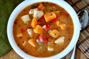 Butternut squash, sweet potato and chicken soup